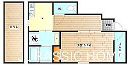 大阪府堺市東区日置荘西町6丁の賃貸アパートの間取り