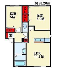 リーベン尾倉A棟[1階]の間取り