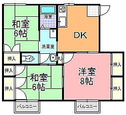 タウニィ・中村[203号室]の間取り