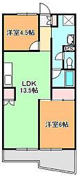 シオヤハイツ[305号室]の間取り