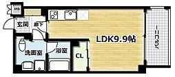 エバーグリーン六地蔵駅前 1階1Kの間取り