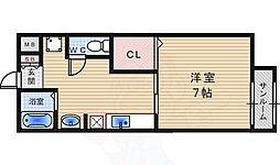 阪神本線 西宮駅 徒歩10分の賃貸マンション 2階1Kの間取り