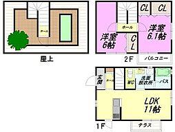 [タウンハウス] 福岡県福岡市南区野多目5丁目 の賃貸【/】の間取り