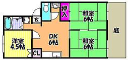 メゾンユィティエーム[1階]の間取り