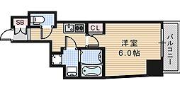 Osaka Metro御堂筋線 昭和町駅 徒歩10分の賃貸マンション 13階1Kの間取り