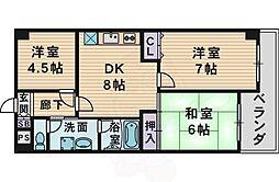 クレアコート 4階3DKの間取り