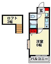 ロイヤルヒルズ黒崎壱番館 6階1Kの間取り
