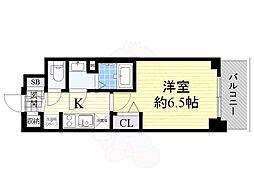 プレサンスOSAKA DOMECITYスクエア 7階1Kの間取り