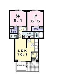 埼玉県所沢市大字北岩岡の賃貸アパートの間取り