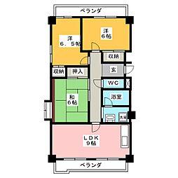 愛知県名古屋市中川区八熊3丁目の賃貸マンションの間取り
