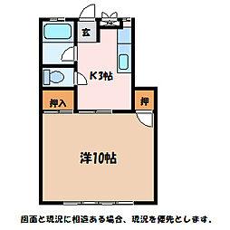 長野県安曇野市三郷明盛の賃貸アパートの間取り