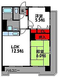 グレイスフルM箱崎東[2階]の間取り