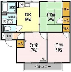 香川県高松市円座町の賃貸アパートの間取り