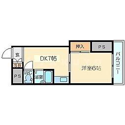 東中島第1土井マンション[5階]の間取り