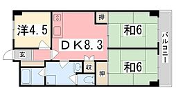 ハイツ野田[7階]の間取り