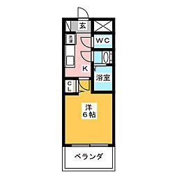 プレサンス名古屋幅下ファビュラス 3階1Kの間取り