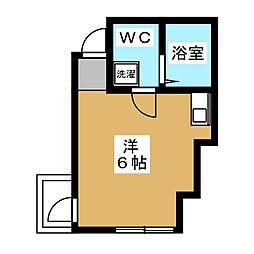 グランシャリオ 2階ワンルームの間取り