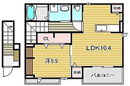 大阪府高槻市松が丘3丁目の賃貸アパートの間取り