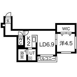ポルトボヌール南7条 1階1LDKの間取り