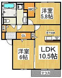 (仮)D-room東所沢和田[1階]の間取り