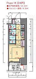 JR東海道・山陽本線 兵庫駅 徒歩3分の賃貸マンション 13階1Kの間取り