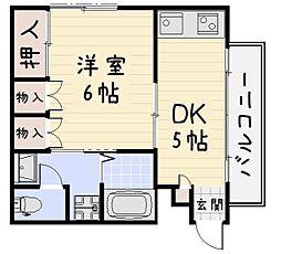 フラワーマンション[403号室]の間取り