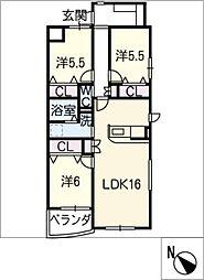 仮)ウッドベルV[2階]の間取り