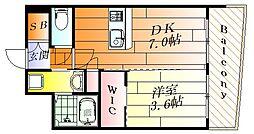 セレニテ江坂ルフレ 8階1DKの間取り
