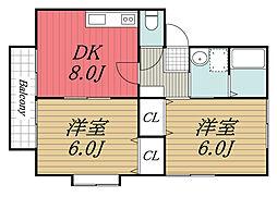 京成本線 京成成田駅 バス26分 旧平下車 徒歩9分の賃貸アパート 2階2DKの間取り