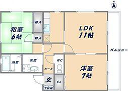 ロイヤルハイツ関谷A棟[2階]の間取り