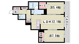 山陽電鉄本線 西舞子駅 徒歩37分の賃貸マンション 2階2LDKの間取り