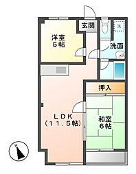 愛知県名古屋市西区上小田井1丁目の賃貸マンションの間取り