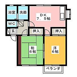 パープルタウン W[1階]の間取り