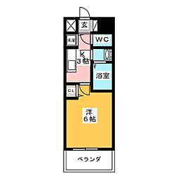 プレサンス岡山駅前 11階1Kの間取り