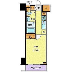 東急東横線 都立大学駅 徒歩13分の賃貸マンション 4階1Kの間取り