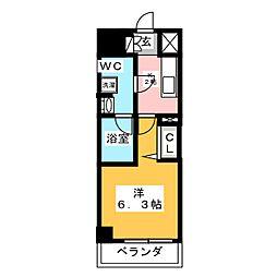 メインステージ武蔵小杉 6階1Kの間取り