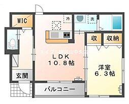 岡山県岡山市中区円山丁目なしの賃貸アパートの間取り