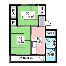 ビレッジハウス杉焼1[1階]の間取り