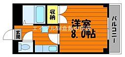 水島臨海鉄道 栄駅 3.8kmの賃貸アパート 2階1Kの間取り