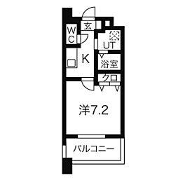 名鉄名古屋本線 名鉄一宮駅 徒歩8分の賃貸マンション 7階1Kの間取り