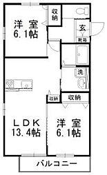 岡山県倉敷市林丁目なしの賃貸アパートの間取り