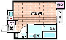 兵庫県神戸市灘区浜田町2丁目の賃貸マンションの間取り