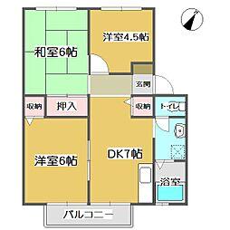 広島県福山市引野町2の賃貸アパートの間取り