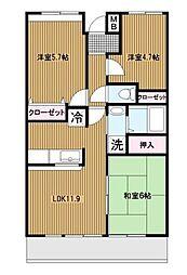 フェンテ大倉山[2階]の間取り