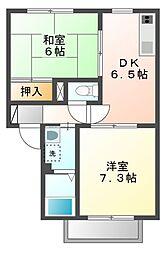 セゾンハトリB[1階]の間取り