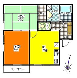 埼玉県蓮田市関山3丁目の賃貸アパートの間取り