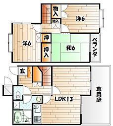 [テラスハウス] 福岡県北九州市小倉南区下南方1丁目 の賃貸【/】の間取り