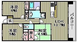 プレミスト日根野駅前ザ・フォル[805号室]の間取り