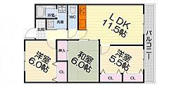 大阪府高石市西取石5丁目の賃貸マンションの間取り