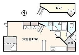 ヴェルドミール上野町 2階ワンルームの間取り